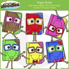 Happy Books Clip Art