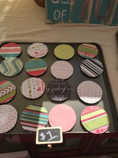 Magnets out of mason jar lids                                                                                                                                                                                 More