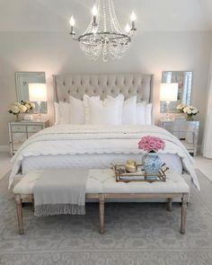 Decor bedroom inspo, classy bedroom decor, master bedroom design, home deco Glam Bedroom, Home Decor Bedroom, Modern Bedroom, Bedroom Bed, French Bedroom Decor, French Master Bedroom, Bedroom Benches, French Bedrooms, Bedroom Romantic