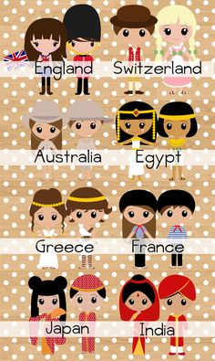 Children of the World - Nursery decor Multi Cultural Crafts For Kids, Royal Nursery, Costumes Around The World, Church Activities, Thinking Day, We Are The World, Cute Drawings, Drawing S, Paper Dolls