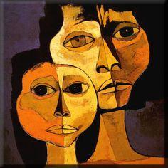 HANDMADE PAINTING, 18x18 in -Guayasamin Reproduction Faces ethnic abstract by EcuadorsArt, $135.00