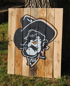 Etsy - Rustic Oklahoma State University Cowboys Phantom Evil Pistol Pete Reclaimed Wood Sign Man-Cave Gift Large: on sale $75