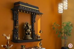 Traditional Wooden Pooja Room Designs for Your Home unit design Ethnic Made of Wood: Inspiring Pooja Rooms for Your Home Temple Design For Home, Home Temple, Temple Room, Ganesha, Mandir Design, Pooja Mandir, Pooja Room Door Design, Indian Interiors, Puja Room