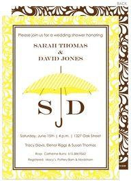 Yellow Umbrella Bridal Shower Invitations