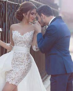 V-Neck Detachable Train Appliques Lace Bridal Wedding Dress - Power Day Sale Slip Wedding Dress, Affordable Bridesmaid Dresses, Wedding Dresses 2018, Designer Wedding Dresses, Bridal Dresses, Marie, Amazing, Spelling Test, Weddings