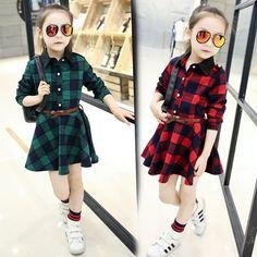 >> Click to Buy << Girls Dress 2017 Fashion New Spring Girls Dresses Long-sleeve Lattice Shirt Dress Kids Princess Cotton Dress Children Clothes #Affiliate