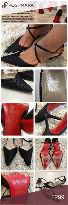 """100% authentic Christian Louboutin If you love a beautiful fitting heel that is easy to walk in, dance In and enjoy your whole evening in these are your shoes. 100% authentic Christian Louboutin heels. Perfect condition normal wear on the soles . Appx 2"""" heel with cross cross ankle strap. No box or dust bag.  Those signature red-soled Louboutin shoes were inspired his assistant! At the time, she was painting her nails a bright red color. Louboutin took one look and decided to color his soles…"""