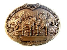 Vintage Lone Mountaineer Western Brass Belt Buckle by Award Design Medals  Offered by SterlingKeeper on Bonanza.com
