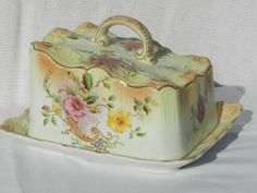 83: Carlton Ware Hand Decorated Cheese Dish : Lot 83