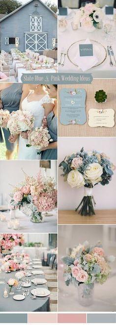 slate blue and blush pink wedding colors ideas #Weddingscolors