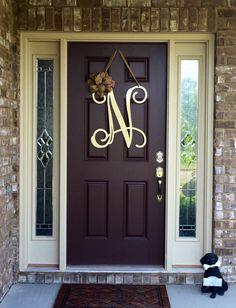 Metal Initial door wreath w/ ribbon, Front Door Wreaths, Monogram D . Front Door Initial, Initial Door Wreaths, Front Door Letters, Initial Door Hanger, Monogram Door Decor, Initial Letters, Initial Decor, Letter Door Hangers, Ribbon Wreaths