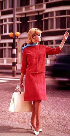 Jean Shrimpton! Love the red velvet