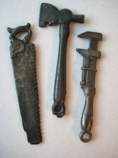 VINTAGE Old Metal CHARM LOT Cracker Jack Prize 1920's-30's Tools Ax Wrench Saw #CrackerJack