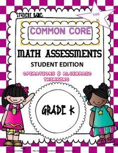 Common Core Math Assessment Kindergarten Operations