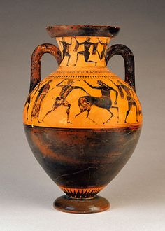 Attic, black-figure neck amphora (ovoid). Attributed to the Affecter Painter who worked around 540-520 BC. This may be one of his early work because of the ovoid/Tyrrhenian neck amphora shape.