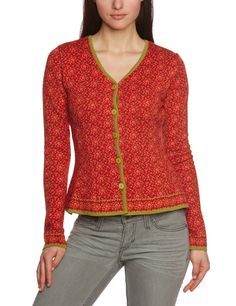 LANA natural wear Damen Strickjacke Jacke Lucien, Geblümt, Gr. S, Rot (Miranda tomate) für 88,90