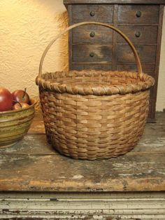Granny's Superb Old Farmhouse Antique Oak Splint Basket - from Hannah's House Antiques Shop on Ruby Lane