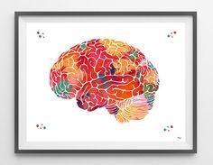 Human Brain anatomy watercolor print brain lateral view poster