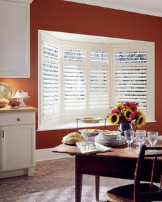 Are you looking for bay window shutters? Try interior plantation shutters! They look incredible and add beauty and style to any bow or bay window. Custom Shutters, Wood Shutters, White Shutters, Homemade Window Blinds, Window Coverings, Window Treatments, Blinds For French Doors, Black Window Frames, Interior Window Shutters