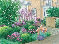 In diesem Vorgarten dominieren romantische Farbtöne. Die als Steinskulptur gefertigte Hausnummer im Beet ist ein außergewöhnlicher Hingucker