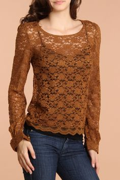 Dex Long Sleeve Lace Top In Old Gold - Beyond the Rack  http://www.beyondtherack.com/event/sku/29108/DEX214228DOGD?filter[size]===1#