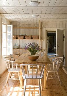 47 Cool And Airy Rustic Dining Room Designs : 47 Rustic Dining Room Designs  With White Wooden Wall Beams Dining Table Bar Stool Chair Basket Hardwood  Floor ...