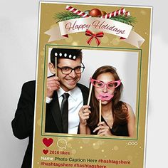 Happy Holidays Christmas Selfie Frame Social Media Photo Frame DIY Booth Prop Party Customized Poster Cutout