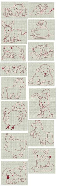Barnyard Friends Redwork design set is available for instant download at designsbyjuju.com