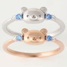 Rilakkuma rings. Rilakkuma, Cute Jewelry, Jewelry Necklaces, Estilo Harajuku, Kawaii Crafts, Kawaii Accessories, My Bubbles, Kawaii Shop, Cute Rings