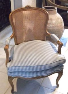 Marvelous French Cane Back Upholstered Arm Chair