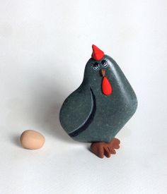 Painted rock Painted stone Rock Hen. Chicken by qvistdesign, $15.00