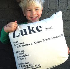 dictionary cushion with kids name meaning made by you xo - kiddos