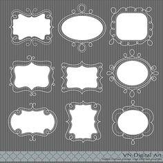 Doodle Digital Frames Labels  Instant Download  18 by VNdigitalart, $3.50