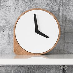A cork corner stops this minimal clock from rolling away