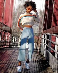UO Rainbow Striped Funnel Neck Track Top   Urban Outfitters   Women's   Tops   Hoodies & Sweatshirts via @lamickirabo #uoeurope #urbanoutfitterseu #uoonyou #urbanoutfitters
