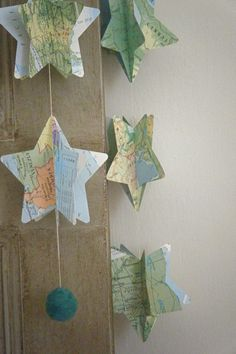 Vintage Atlas 3D Paper Mobile Star Strings. via Etsy.
