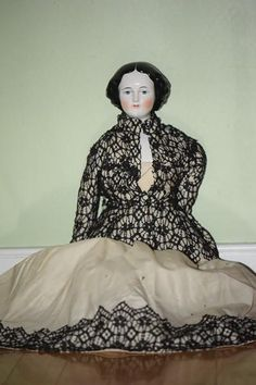 "Old Doll China Head Large Jenny Lind Doll 23"" Tall"