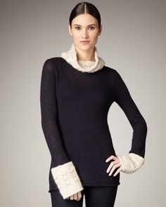 Tory Burch Fermion Knit Turtleneck - could be also make a fun knitting project