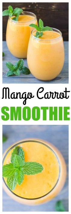 This vibrant orange Mango Carrot Smoothie has a he…
