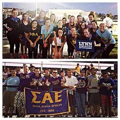Theta Phi Alpha and Sigma Alpha Epsilon showed their Greek Week spirit at the lacrosse game yesterday. #lynning #greekweek #sigmaalphaepsilon #thetaphialpha