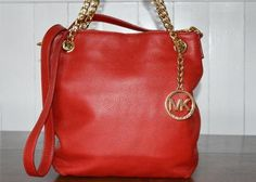 Red Handbags I want Handbags Michael Kors, Tote Handbags, Red Handbag, Gold Chains, Michael Kors Jet Set, Red Leather, Outlet Store, Purses, Medium