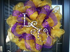 LSU tigers deco poly mesh wreath