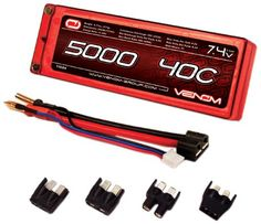 Back in stock Venom 40C 2S 5000mAh 7.4 Hard Case LiPO Battery ROAR Approved with UNI Plug