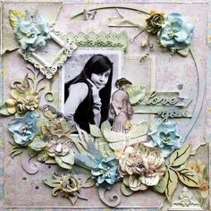 """Love You"" *Maja Design* - Scrapbook.com Really like the use of the small frame on the left"