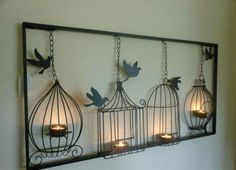 2013 Wrought Iron Home Decor Dove Candle Holders Wall Mounted Display… Kunst aus Metall Wall Mounted Candle Holders, Light Wall Art, Hanging Candles, Hanging Art, Hanging Frames, Metal Tree Wall Art, Iron Wall Art, Metal Wall Art Decor, Iron Art
