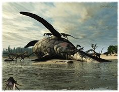 New Triassic Beachscene. Coelophysis enjoy a meal, from a stranded 13m long Shoni-saurus, while in the background a 5m long Postosuchus approaches