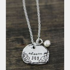 This beautiful necklace is a reminder to always choose joy throughout your day. Hand-cast in fine Pewter. Hand stamped with calligraphy font Pearl Necklace Vintage, Vintage Pearls, Graduation Jewelry, Hand Stamped Necklace, Choose Joy, Birthstone Charms, Initial Charm, Handmade Necklaces, Beautiful Necklaces