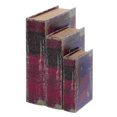 Woodland Imports Set Of 3 Rules Of Golf Wood Faux Book Boxes 59377