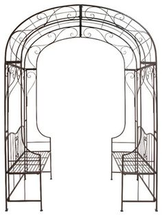 Stylish and Sleek Style The Cool Metal Arch with Bench Home Decor 41406 - contemporary - Gazebos - GwG Outlet