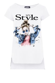 My Style Print Asymmetrical T-Shirt In White, Short Sleeve fobya European Fashion, Timeless Fashion, Online Shopping Clothes, Blouses, Clothes For Women, My Style, Sleeve, Womens Fashion, Mens Tops